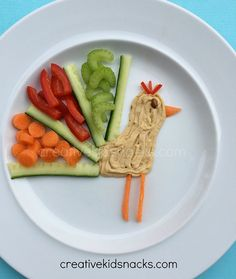 A cute way to serve veggies and hummus!  Get the kids excited to eat healthy food this way!