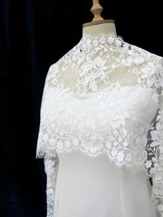Romantic Wedding Floral Lace Shrug Off White Light by gebridal
