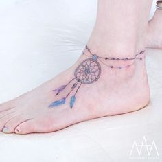 Gorgeous Anklet Dreamcatcher Tattoo by Tattooist Nanci