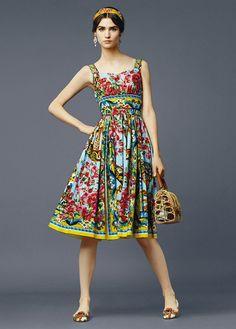 Ana Rosa - Colourful, sleeveless a-line dress