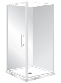 Features Low profile tray with 40mm upstand Tray is Centre Waste as standard but also available in Corner Waste. 1950mm high glass, 6mm safety glass Pivot Door  Modern 1-piece design which is reversible (flip to fit). One piece acrylic lining.  Available in White, Silva and Black