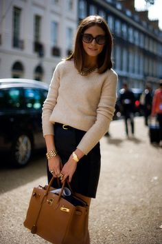 Gorgeous taupe Hermes bag for the ultimate Sophisticate Olivia Palermo. Get the look at www.charlottetilbury.com