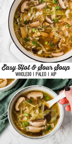 Paleo Hot & Sour Soup & AIP) This hot & sour soup is an easy and nourishing dish! It's paleo, AIP, and an all around healthy and filling meal.This hot & sour soup is an easy and nourishing dish! It's paleo, AIP, and an all around healthy and filling meal.