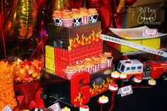Awesome dessert table at a firefighter birthday party! See more party planning ideas at CatchMyParty.com!