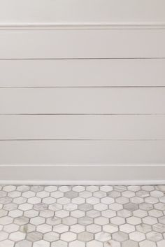3x3 carrara hex tile with delorean gray grout (simple grout from HD)