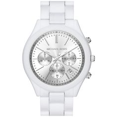 Michael Kors 'Slim Runway' Chronograph Bracelet Watch, 42mm ($250) ❤ liked on Polyvore featuring jewelry, watches, white, slim watches, white bracelet, bracelet watches, chrono watches and white jewelry