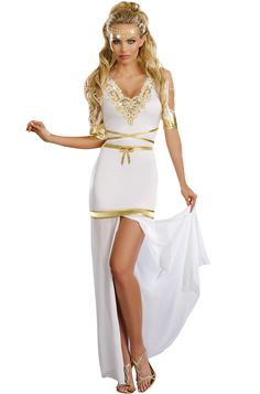 Goddess of Love Aphrodite Adult Costume includes a dress with a detachable skirt hemline that unzips and converts into a cape, matching headpiece and gold armbands. No man can resist the power of your love spell in this beautiful toga costume!