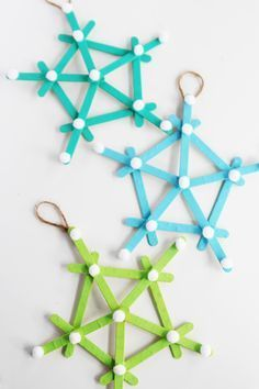 DIY Popsicle Stick Snowflakes - One Little Project for toddlers room ideas stick crafts crafts Popsicle Stick Crafts For Kids, Popsicle Stick Snowflake, Popsicle Sticks, Craft Stick Crafts, Craft Sticks, Resin Crafts, Christmas Crafts For Kids, Kids Christmas, Diy Crafts For Kids