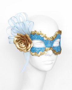 Blue with a golden rose Gold Masquerade Mask, Masquerade Theme, Fabric Roses, Gold Fabric, Ribbon Rosettes, Blue Ribbon, Blue Glitter, Blue Gold, The Mask Costume