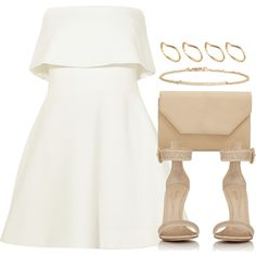 A fashion look from April 2016 featuring short dresses, ankle tie sandals and chain handle handbag. Browse and shop related looks. Nude Outfits, Woman Outfits, All Fashion, Womens Fashion, Fashion Trends, Classy Women, Classy Lady, Outfit Combinations, Dressed To Kill