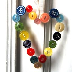 Vintage Button Heart - threaded on a wire, hung with ribbon