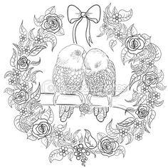 Pollo de zentangle dibujada para colorear libro para adultos de la
