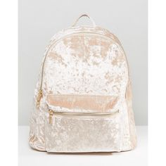 Yoki Crushed Velvet Backpack (€30) ❤ liked on Polyvore featuring bags, backpacks, beige, crushed velvet backpack, yoki bags, daypack bag, day pack backpack and rucksack bags