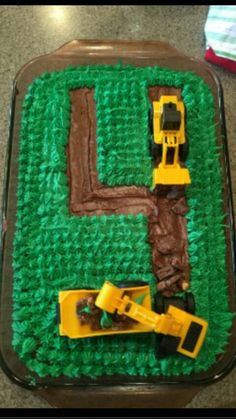 This is a tractor cake that I made for my 4 year old cousins birthday.
