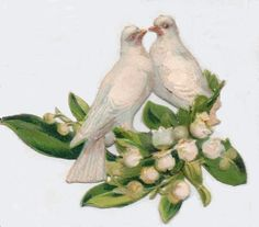 Victorian Die-cut scrap booking picture - Doves and lilies of the valley