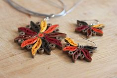 Quilled Fall themed Jewellery set by QuillingAndMore on Etsy, $25.00