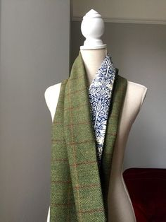 """Scottish Tweed and William Morris Brother Rabbit Scarf - £35.  This is a beautiful and unique green 100% Scottish wool tweed scarf with red and orange check backed with 100% cotton William Morris Blue Brother Rabbit design fabric printed in the UK.  156cm x 30cm (61"""" x 12"""")  Handmade in London."""
