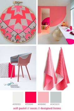 Style report #14 Pink neon, one of my favorite colors at the time is even more beautiful when it is combined with soft pastels. This color combination is seen in architecture, textile and interior styling. A neon accent in your interior will make you smile! Pictures: April Awakening   Levis   Floor Knaapen   Scholten  Baijings
