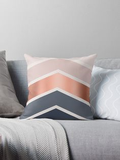 Living Room Designs Navy – Chevrons in blush, navy and copper' Throw Pillow by UrbanEpiphany – Hazir Site Blush Living Room, Copper Living Room, Copper Bedroom, Blush Bedroom, Navy Living Rooms, Pink Bedroom Decor, Pink Bedrooms, Living Room Colors, Bedroom Colors