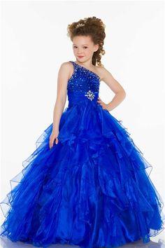 Ball One Shoulder Royal Blue Beaded Organza Ruffle Little Girl Evening Prom Dress