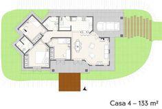 """A planta baixa da casa evidencia a integração dos espaços na área social: a cozinha abre-se para a sala de jantar, integrada com o estar. """"A integração dos ambientes favorece a sensação de amplitude do espaço"""", aponta a profissional."""