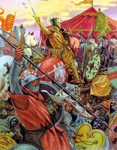 Battle of Las Navas de Tolosa, known in Arab history as the Battle of Al-Uqab, took place on 16 July 1212 and was an important turning point in the Reconquista and in the medieval history of Spain. Medieval Knight, Medieval Armor, Medieval Fantasy, Military Art, Military History, High Middle Ages, Dark Ages, Illustrations, Renaissance