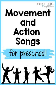Movement and action songs are MAGIC in my preschool classroom! They can instantly turn a grumpy day around and are wonderful tools for circle time, transitions, and any time you just need to keep things moving forward! They're wonderful great gross motor practice, as well. Action Songs For Preschoolers, Movement Songs For Preschool, Fun Songs For Kids, Music Activities For Kids, Music For Toddlers, Quiet Time Activities, Creative Activities For Kids, Preschool Music, Preschool Projects