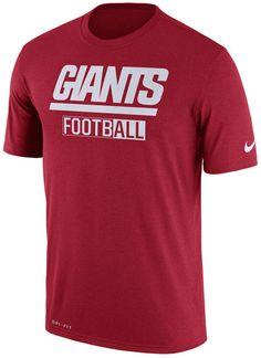 Make sure everyone knows your allegiances on game day with this Nike NFL men's All FootbALL Legend T-shirt. The T-shirt design features the New York Giants name in a colorful display right on the front. Crew neck Short sleeves Screen print team graphic at front Screen print brand logo at left sleeve Regular fit Tagless Polyester Machine washable
