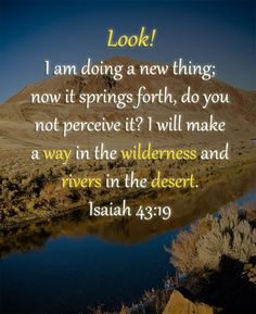 He will make a way in the wilderness and rivers in the desert...
