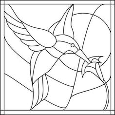 Hummingbird and flower drawing great for stained glass or appliqué