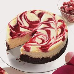 Cranberry Swirl Cheesecake Recipe | MyRecipes.com