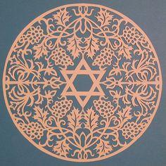 Laser-cut Size in mm 170 x 170 Size inch x Jewish Crafts, Jewish Art, Arabesque, Arte Judaica, Quilling Patterns, Album Design, Stencil Painting, Star Of David, Sacred Art