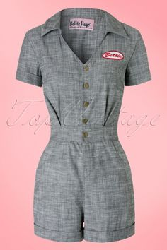 Bettie Page Clothing ~ 50s Pit Stop Romper in Grapphite Grey