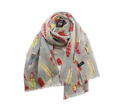 Exotic feather print wool scarf/shawl
