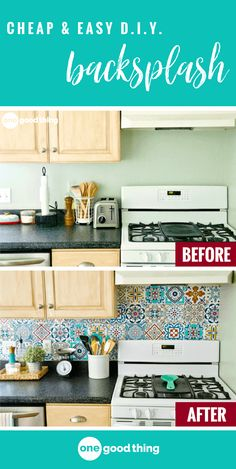 Could your kitchen use a facelift? Creating a backsplash with peel-and-stick tiles is a simple, effective, and totally damage-free way to spruce up your kitchen. Perfect for homeowners and renters alike! #diyprojects #diybacksplash #diykitchen