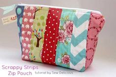 Free Purse Pattern and Tutorial - Scrappy Fabric Strip Zipper Pouch