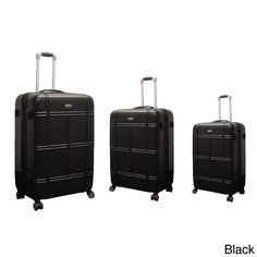 Constructed of durable polycarbonate, this three-piece luggage set comes in black or gold color options. Dual 360-degree rotating wheels provide maximum maneuverability and an internal divider allows further organization.