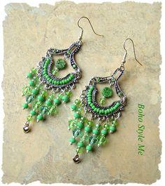 Boho Gypsy Chandelier Earrings, Lucky Irish Green, Beaded Dangle, Bohemian Jewelry, St Patrick's, Boho Style Me, Kaye Kraus by BohoStyleMe on Etsy