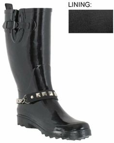 Capelli New York Pyramid Stud And Chain Strap With Buckle, Gusset, And Pull Loop Rain Boot Capelli New York. $35.99