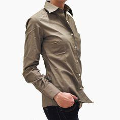 Camicia donna fango con toppe / Mud blouse with check inserts