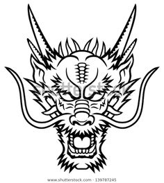 A Dragon head logo. This is illustration ideal for a mascot and tattoo or T-shir… Ein Dragon Head Logo. Dragon Head Drawing, Chinese Dragon Drawing, Dragon Head Tattoo, Chinese Dragon Tattoos, Dragon Tattoo Designs, Japanese Dragon, Logo Dragon, Tattoo Bird, Dragon Tattoo Drawing