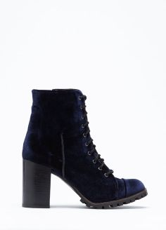 All On Boot- Heeled lace up boot featuring all over velvet. Such pretty indigo velvet. I need.