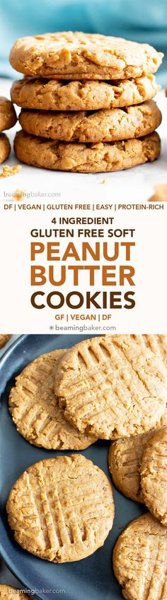 4 Ingredient Gluten Free Soft Peanut Butter Cookies (V, GF): an easy recipe for deliciously super-soft, flourless peanut butter cookies mad. Cookies Gluten Free, Gluten Free Cookie Recipes, Best Cookie Recipes, Healthy Cookies, Baking Recipes, Cookies Vegan, Vegan Desserts, Fun Desserts, Delicious Desserts