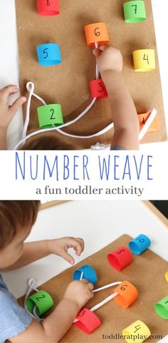 A fun way to thread and weave, counting numbers and learning colors. This toddler activity is perfectly fun!