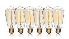 Edison Light Bulbs - 6 Packk - 60 Watts - Incandescent Squirrel Cage, E26 Regular Base Dimmable, Vintage Light Bulbs, Antique Light Bulbs