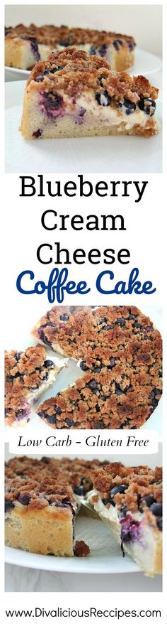 Blueberry cream cheese coffee cake baked with coconut flour.  Low carb and gluten free deliciousness on a plate.