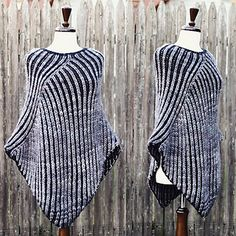 "This is a quick knit that will keep you warm all winter. The construction starts at the neck and works down the body in the round. Then is worked flat for it's final shaping. One size fits most: 25"" neck, 62"" wingspan, and 32"" long."