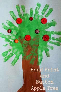 Hand Print and Button Apple Tree