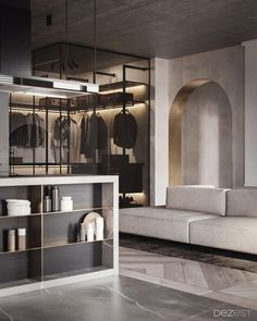 A welcoming home design with chic dark decor and modern furniture pieces. Open plan living room with a glass closet & a luxury bedroom with glass wall ensuite. Cool Apartments, Luxury Apartments, Zen House, Condo Living, Living Room, Jakarta, Apartment Interior Design, Contemporary Interior Design, Minimalist Interior