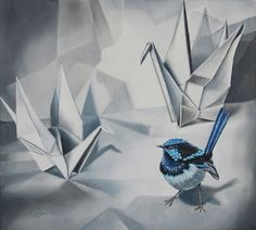 Clare Toms Siege - 2012 Oil on Canvas 51 x 47 cm Blue Jay, Bird Art, Oil On Canvas, Toms, Birds, Painting, Animals, Animales, Animaux